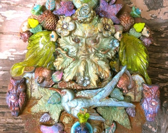 green man keeper of all creatures - mixed media mosaic