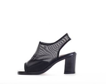 Vintage Robby Black Mesh Heeled Sandals size 6.5M