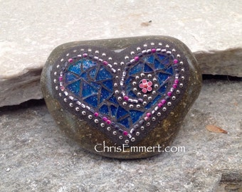 Royal Blue Heart Mosaic -Garden Stone