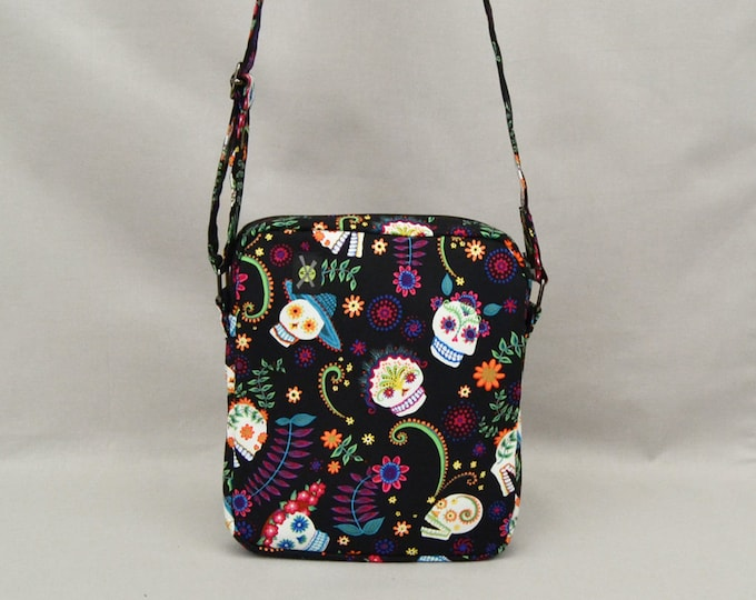 Day of the Dead Sugar Skulls Small Crossbody Bag, Zipper Top Closure, Fabric Shoulder Bag Purse, Ready To Ship