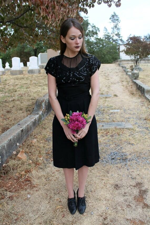 NIGHTFALL Vintage 1940's Womens Suit Little Black Dress Set Peplum Dress and Blazer Black Sequins Sheer Mesh Neckline Classic Cut