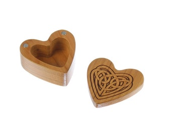 "Heart Shaped Box, 2-1/4""  x  2-1/4"" X 1"" d, Solid Cherry Wood, Celtic Love Knot Heart Pattern H6, Laser Engraved, Paul Szewc"