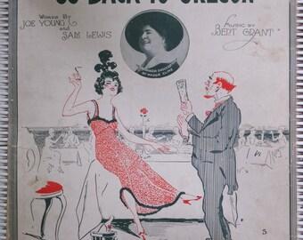 1916 Arrah Go On I'm Gonna Go Back To Oregon Joe Young Sam Lewis Bert Grant Maggie Cline Al Jolson Ad Song Book Sheet Music