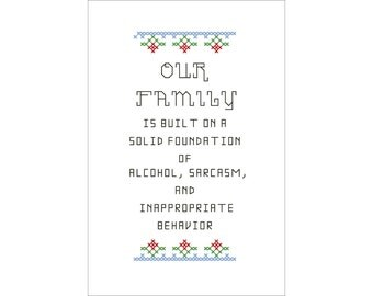 PDF PATTERN: Our Family funny cross stitch digital download