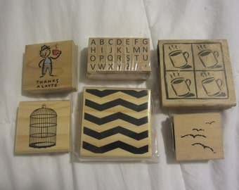 Twin Peaks inspired stamps. Coffee, chevron zigzag, empty birdcage, birds, and alphabet -- mixed lot of new & used.
