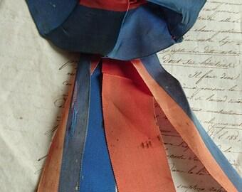 Divine antique French timeworn Republique Francaise ribbon rosette  ATTIC FIND c1880  Belle Brocante