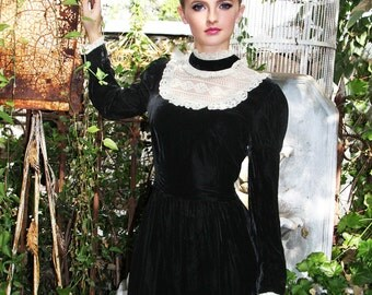 SILK VELVET Black Dress GOWN Vintage 70's White Victorian Lace Neckline Poet Sleeves //  TatiTati Style on Etsy