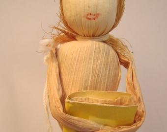 Cornhusk Folk Art Doll from Red Bird Mission - Handmade in Kentucky Mountains - Appalachian Craft
