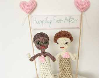 Bride and Bride Cake Topper,  Crochet Dolls Lesbian Cake Topper, LGBT cake topper, Same Sex cake topper,
