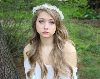 Flower Crown,Wedding,  Ivory or white, Tiara, Bridal Hair Wreath, head wreath, fairy, woodland - Freelee - by DeLoop