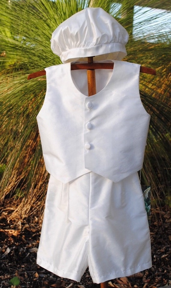 Casimir - A stylish silk Boy's Christening Outfit, Shorts,Vest and Cap - handmade, size 6- 9 months, ready to ship. Last one at this price