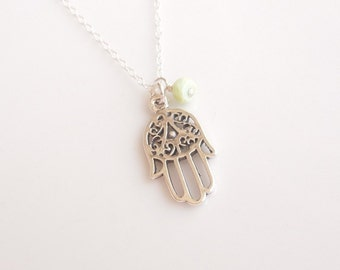 Silver Hamsa Necklace with Peruvian Opal