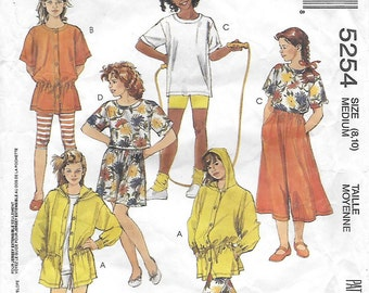 McCall's 5254 Girl's 90s Tunics, Top, Culottes (2 Lengths), Leggings (2 Lengths), Shorts Sewing Pattern Breast 26 28 1/2