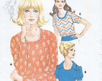 Kwik Sew 530 Misses' 70s Pullover Top Sewing Pattern Size 6 to 12, Bust 32 1/2 to 37