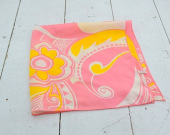 1960s Pink and Yellow Swirly Scarf