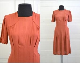1940s Burnt Orange Dress