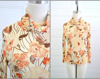 1970s Orange Floral Blouse