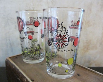 Set of 6 vtg Bon Voyage juice swig glasses / travel modes transportation / pink yellow / midcentury / Continental Can Company glassware