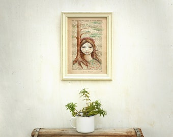 Woman painting, Woodland art, Print on text, Russian art, Woman portrait print, Nature theme, Art on text, gift for woman, gift for teen