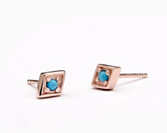 Boho Diamond and Turquoise Stud Earrings, Gold Plated Sterling Silver, Dainty Earrings, Geometric Minimal Earrings, Handmade Gift, STD074TRQ