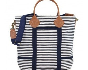 Monogrammed Flight Bag - navy stripes
