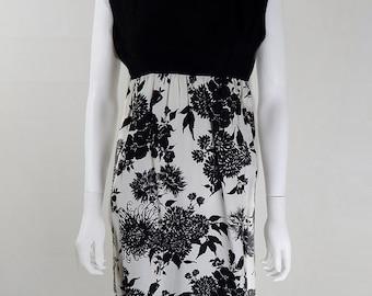 Vintage 1950s Monochrome Pencil Dress UK Size 8/10