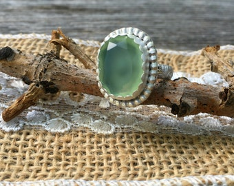 Grade A Apple Green Rose Cut Chrysoprase Ring set in .925 Silver with fancy floral band. Beaded Chrysoprase statement ring