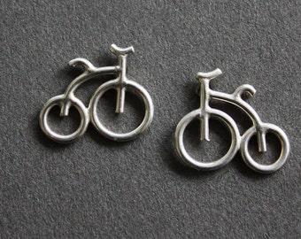 Sliver bicycle earrings