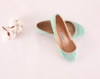 Tiffany Green Suede Ballet Flats | Velvet Soft Ballerina Flats | Light Mint Green Summer Flats | Aqua...Made to Order