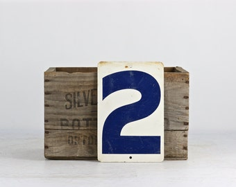 Vintage Gas Station Metal Number 2 or 1, Double Sided Gas Station Number, Metal Number 2, Metal Number 1, Blue and White Gas Station Number