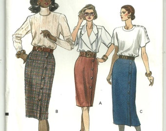 Vtg 1989 VOGUE 7648 easy pattern, Straight Skirt 14-16-18, Uncut