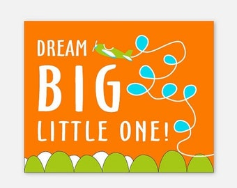 CANVAS Art, Airplane Nursery Decor, Dream Big Little One in Turquoise, Orange and Green, Fun Playroom art, 8x10 to 20x24, Gallery Wrap