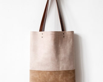 Safari Beige Distressed Leather Tote bag No.tl- 9007