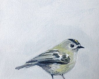 "Goldcrest bird painting 7"" x 5"""