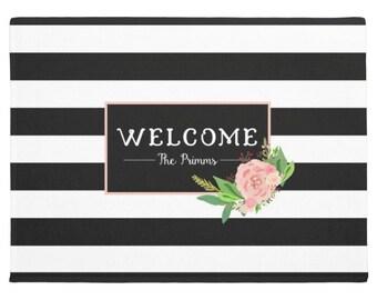 Personalized Door Mat, Monogram Doormat, Stripes Floral Welcome Mat, Monogrammed Door Mat, Custom Doormat, Clover Door Mat