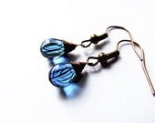 Small Blue Forest Drops Earrings - Delicate Glass Drop Earrings with Stripes