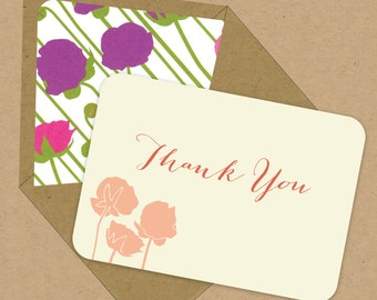 BOX OF 12 Floral 2 Thank You Notes