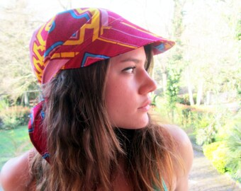 Red Sport Visor -  Red Holiday Mountain Sea Boat Hat Cap boho head wrap