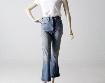 1970s Levis 646 jeans, vintage high waist crop flare denim 29 x 28