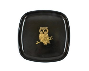 Owl Tray - Mid Century Modern, Couroc Tray, Black Tray,  Inlaid Brass and Wood, Vintage Barware Tray, c.1960s