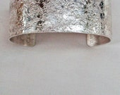 """Sterling Silver Cuff Bracelet Stone Textured 1"""" Wide"""