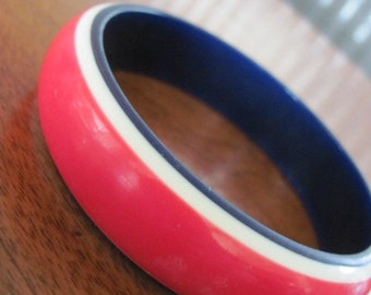Vintage Mod Red, White, and Blue Bangle Bracelet - Cuff - Women - Costume Jewelry - Fashion - Style - Accessories - USA - 4th of July