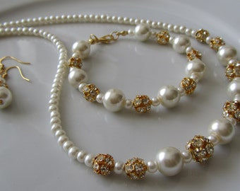 Pearl necklace, pearl bracelet and earrings bridal set with golden crystal rhinestones, bridal jewelry, bridesmaids jewelry, golden bridal