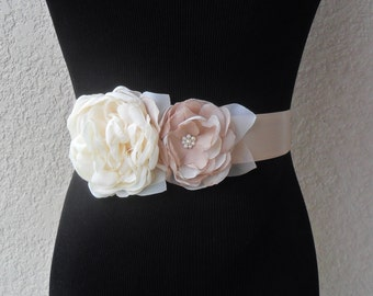 Wedding sash, Floral sash, Champagne sash, Bridal sash,YOUR CHOICE COLOR,Bridal accessory,Chiffon sash,Floral Bridal belt,Wedding dress sash