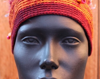Colorful Orangy Blue Crochetted Cap...
