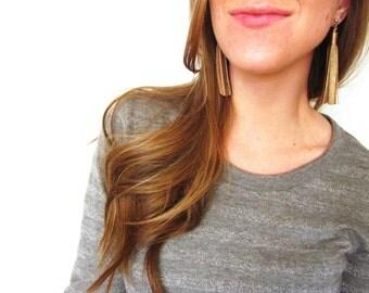 Tassel Stud Earrings | Leather Tassel Earrings | Fringe Earrings