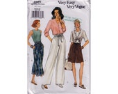 "Womens Sewing Pattern Wide Leg Shorts Pants Elastic Waist Side Pockets 1990s EASY UNCUT Size 18-22 Waist 32-37"" (102-112 cm) Vogue 8885 S"