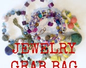 Mystery Jewelry Grab Bag, 2-5 Surprise Handmade Costume Jewelry Pieces, Jewelry Lot, Destash Assortment, Sale, Clearance, Handmade Jewelry