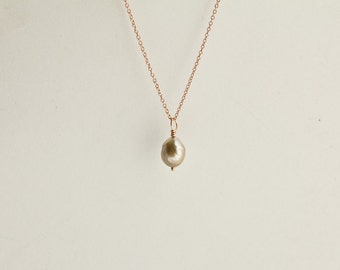 minimal large south sea pearl rose gold necklaces