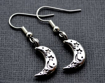 Silver Crescent Moon and Stars . Earrings